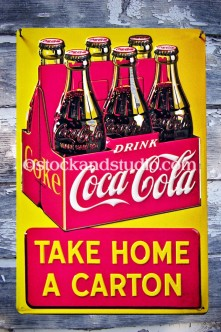Antique Vintage Coca Cola Sign (Case of 6)